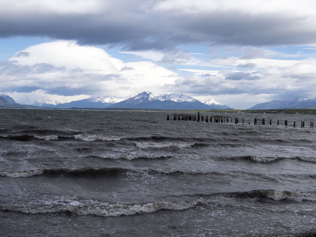 Waves on the shore in Puerto Natales Chile.
