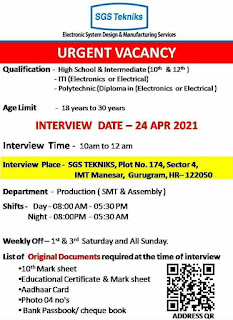 SGS Tekniks Manufacturing Pvt. Ltd IMT Manesar, Gurugram Walk In Interview Jobs Vacancy For 10th & 12th Pass and ITI, Diploma Holders
