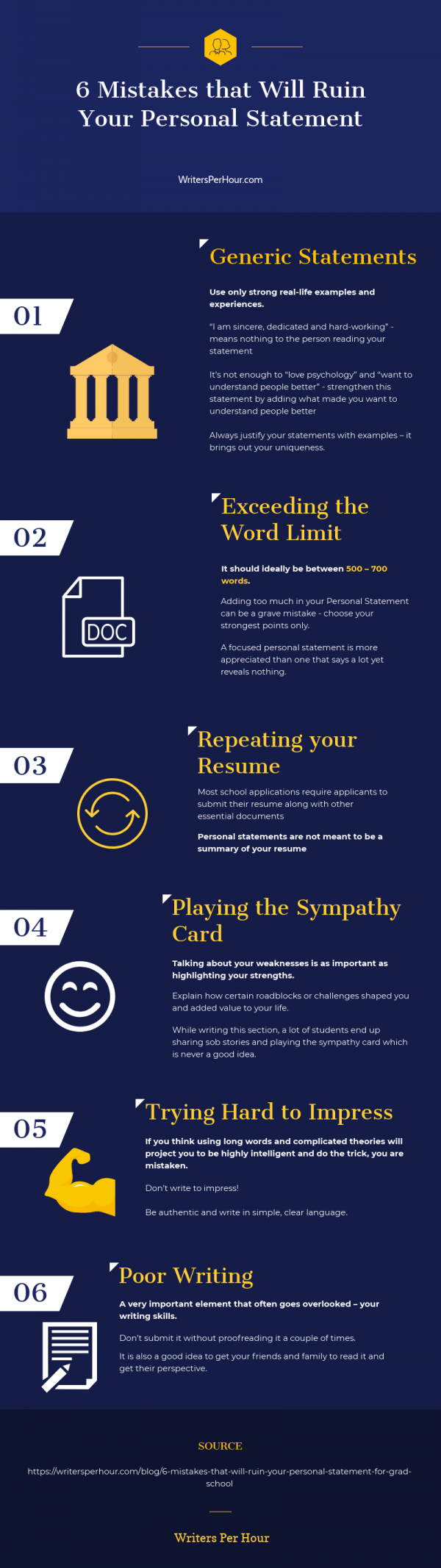 6 Mistakes That Will Ruin Your Personal Statement #infographic