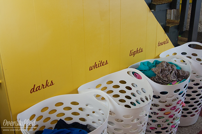 Idea for sorting laundry—use vinyl lettering on the wall above the sorting baskets. Great way for kids to learn how to sort the laundry!