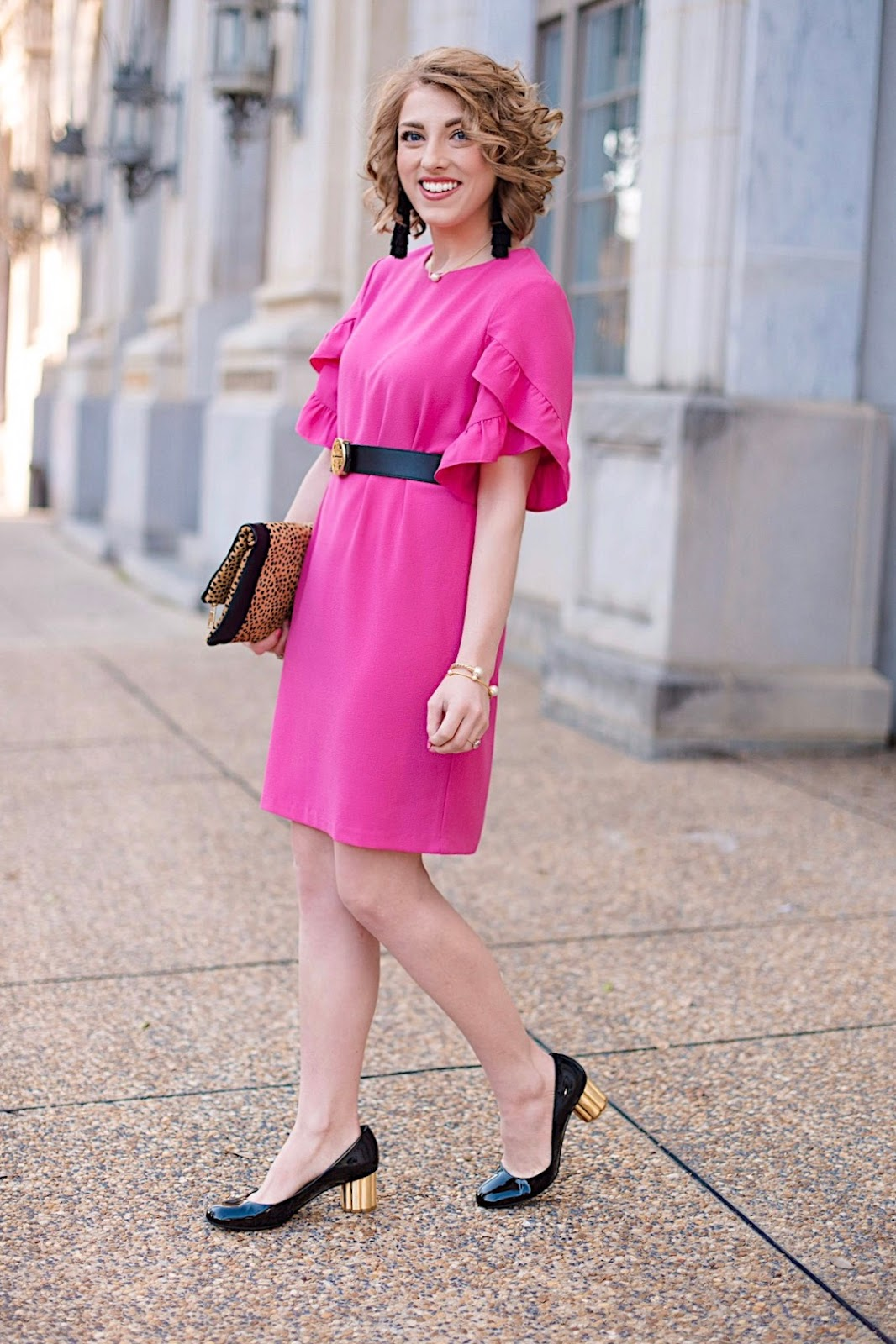 Pink Ruffle Sleeve Dress - Something Delightful Blog