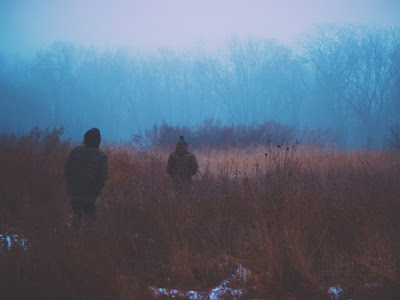two young people walking away through a foggy yellow field