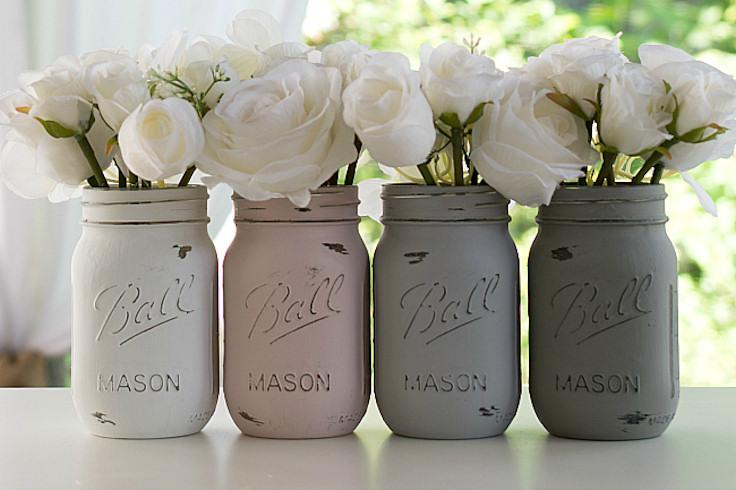 Painted Mason Jars, Flower Vases, Rustic Wedding Centerpieces, Showers, Parties ($256.00)