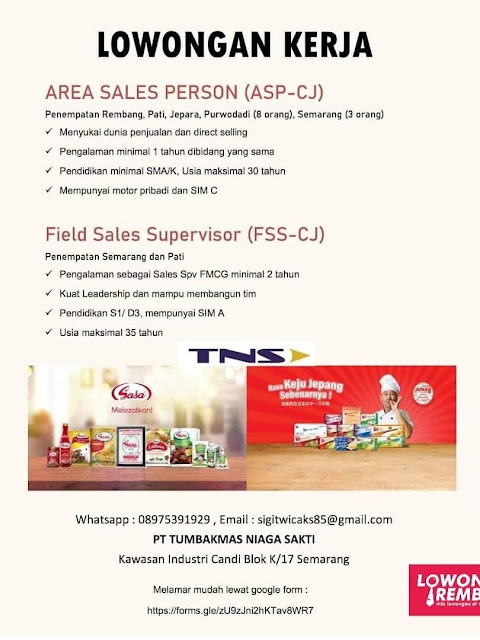Lowongan Kerja Area Sales Person (ASP-CJ) PT Tumbakmas Niaga Sakti Semarang Area Rembang Pati Jepara Purwodadi Semarang