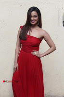 Actress Sana Khan Latest Pos in Georgius Spicy Red Long Dress at the Interview  0001.jpg