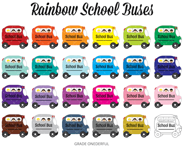 School Bus Clip Art in ALL the Colours!