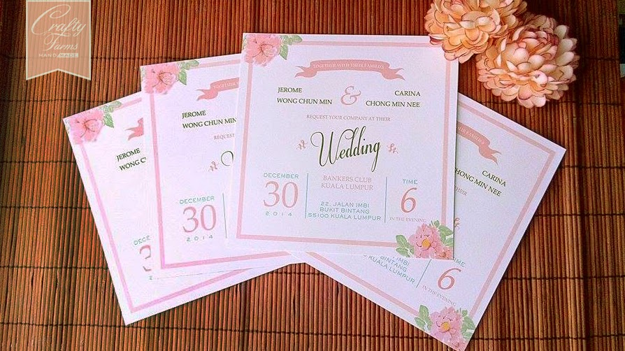Flat invitation card, Square Vintage Pink ad Blue Wedding Cards, Bankers Club Kuala Lumpur, Malaysia