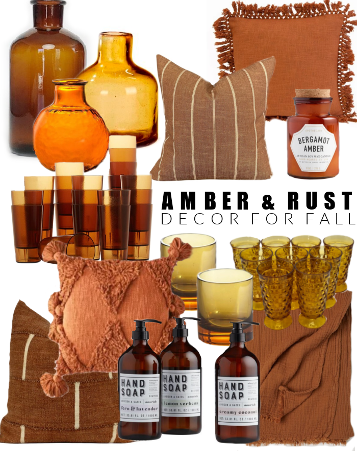 Amber, burnt orange and rust decor for fall