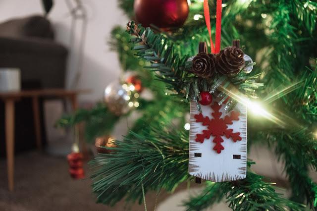 Christmas sleigh decoration close up