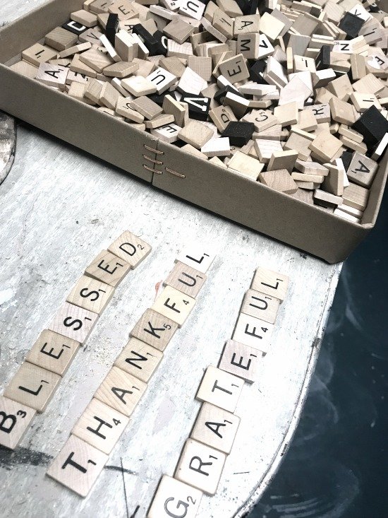 Use a scrabble collection to make a Thanksgiving Sign