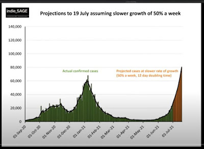 020721 indieSAGE linear graph showing cases to date and projection going forward at half the rate to 19th July