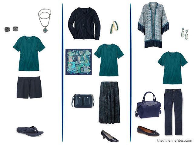 Three capsule wardrobe outfits including a teal tee shirt
