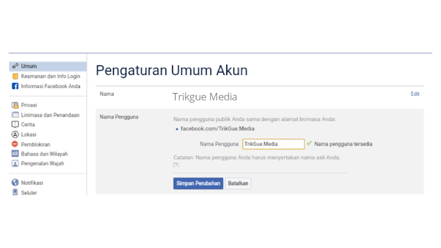 cara mengganti username facebook di laptop pc