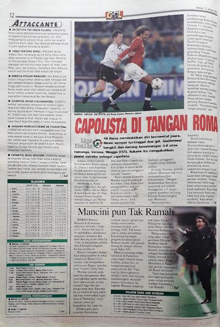 LIGA ITALIA 2002 CAPOLISTA DI TANGAN AS ROMA