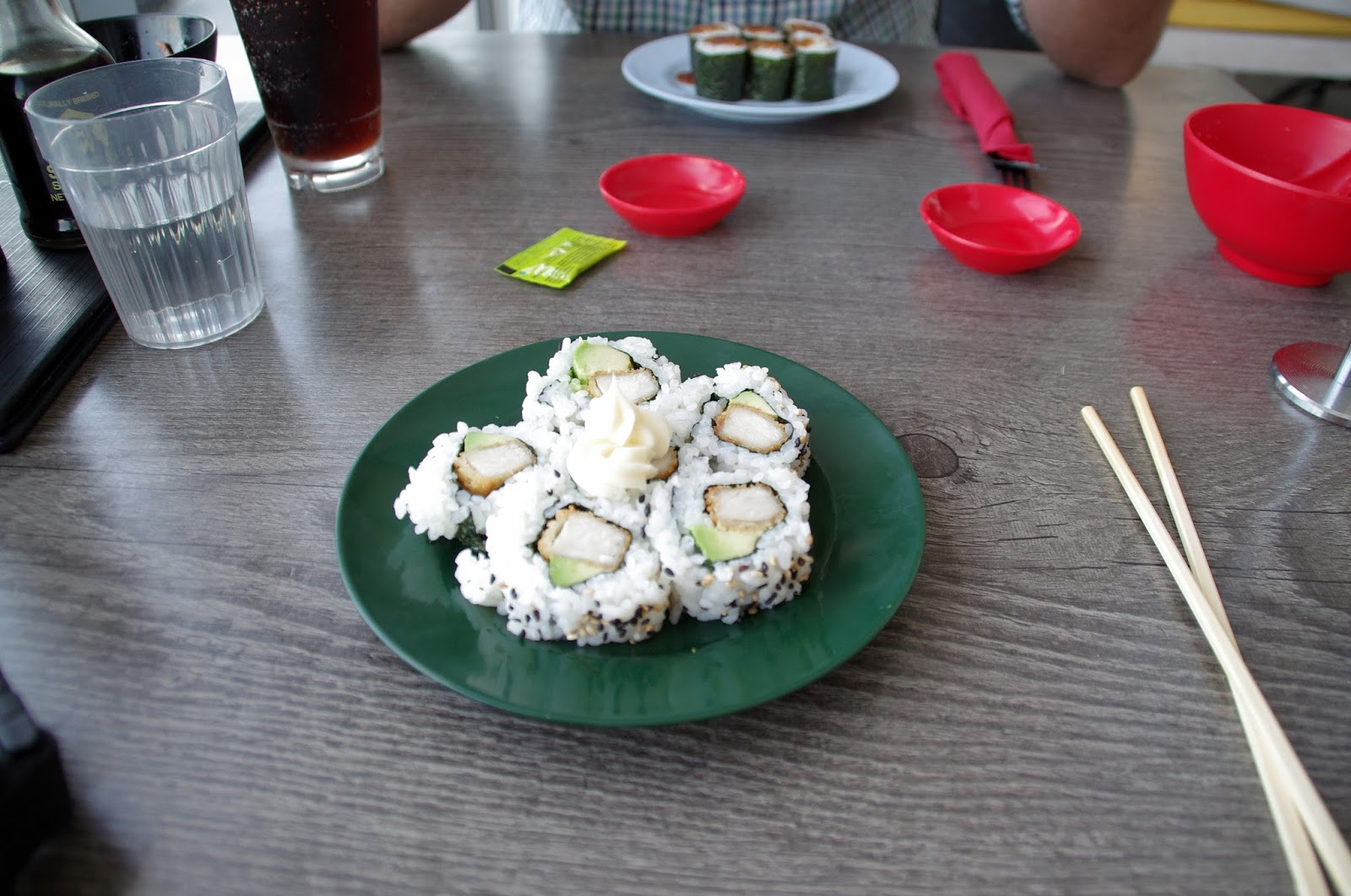 crumbed chicken and avocado sushi wrapped in rice