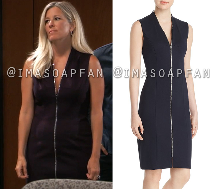 Carly Corinthos, Laura Wright, Midnight Blue Zip-Front Dress, General Hospital, GH