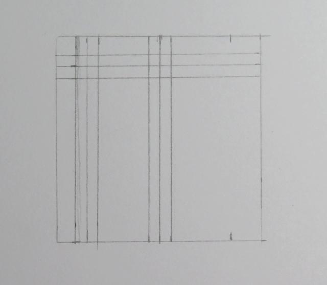 Dibujo de otras tres líneas verticales equidistantes de las otras tres