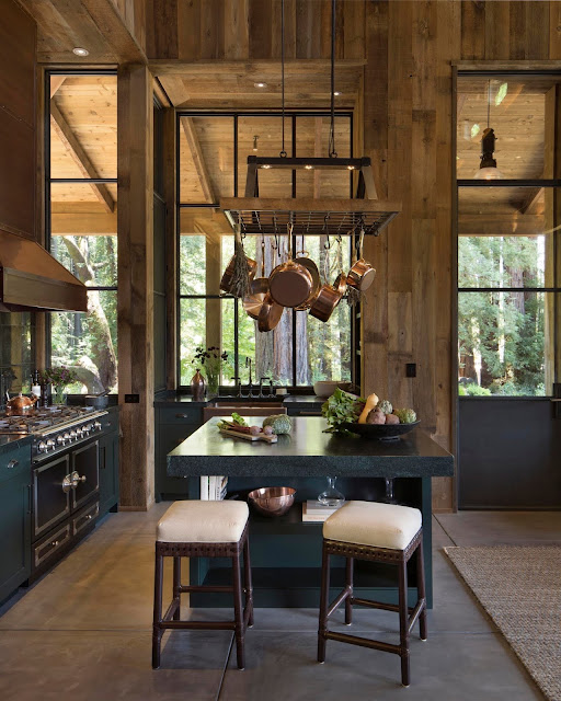 Dining nook with vineyard views in the tall kitchen of a farmhouse-style residence, St. Helena, Napa County, California. By Wade Design Architects and Jennifer Robin Interiors.