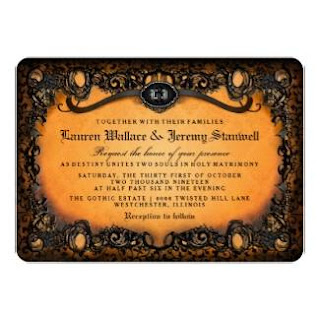 Orange Black Elegant Lace Halloween Wedding Invite Gothic Bride Groom Initials with Reception Info on Back