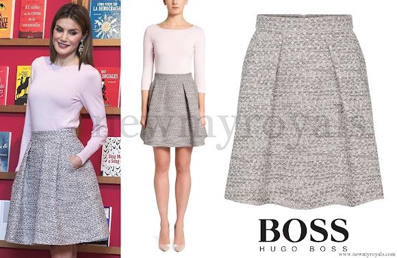 Queen Letizia wore HUGO BOSS Rizalia Flared Skirt