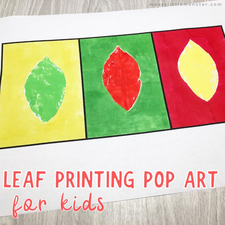 Leaf printing pop art for kids