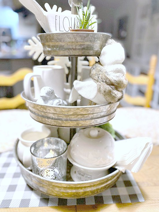 Decorate a Tiered Tray for Winter