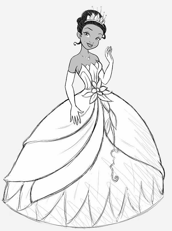 Princess Tiana and The Frog Coloring Pages | Coloring ...