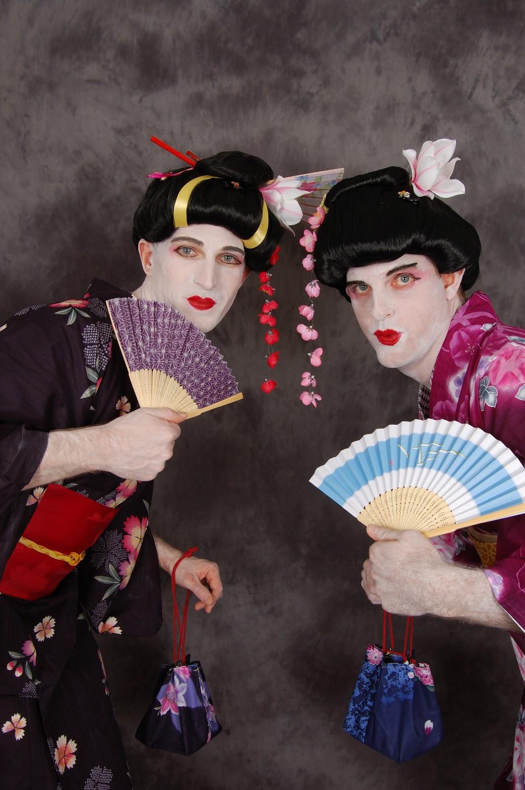 Two gorgeous Geisha girls in Full Geisha Costume wig makeup kimono obi fan hair accessories and bag  sc 1 st  kimono house & KIMONO HOUSE - NEW YORK: Geisha Costume Wigs New York Samurai ...