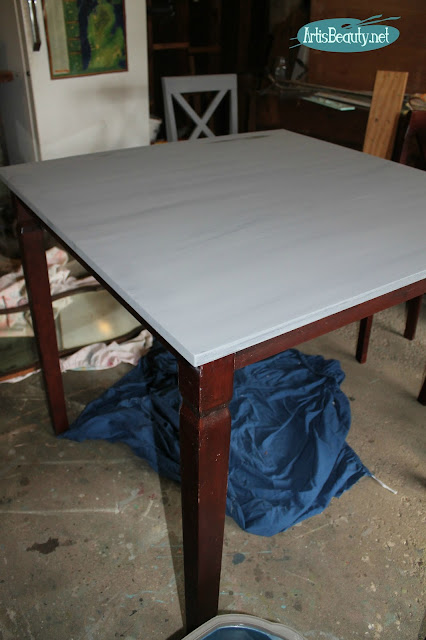 wet blend gray painted table top diy farmhouse style bistro table makeover