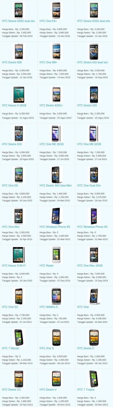 Daftar Harga Terbaru Hp HTC Maret 2016