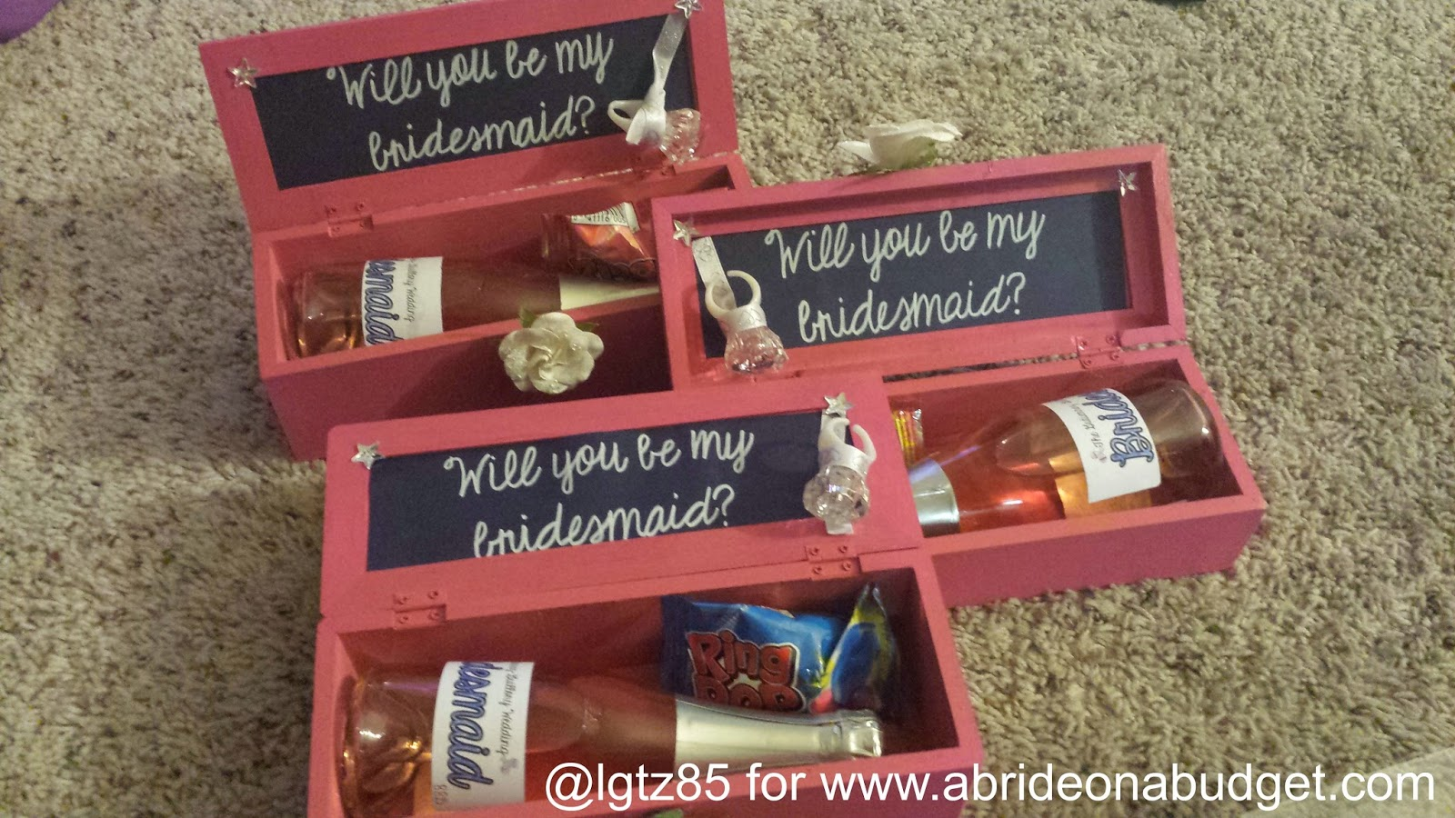 How are you asking your friends to be your bridesmaids? Go with these DIY Bridesmaids Boxes. The tutorial is on www.abrideonabudget.com.
