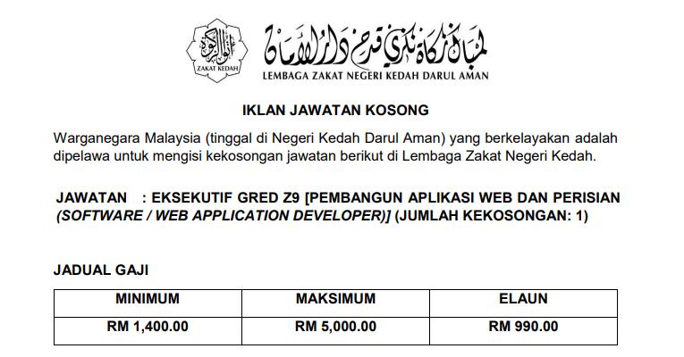 Jawatan Kosong di Lembaga Zakat Negeri Kedah