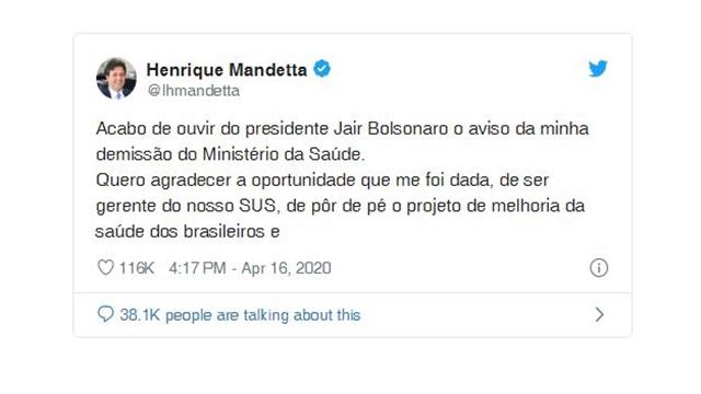 Mandetta anuncia em rede social que foi demitido por Bolsonaro do Ministério da Saúde