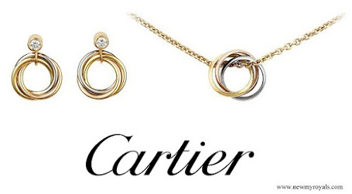 Kate Middleton Jewelry CARTIER Trinity Earrings and Trinity Necklace