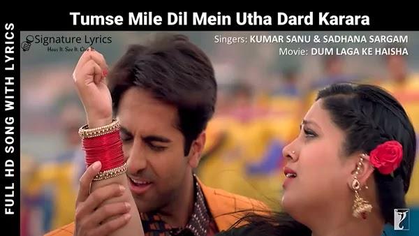 Tumse Mile Dil Mein Utha Dard Karara Lyrics - Dum Laga Ke Haisha