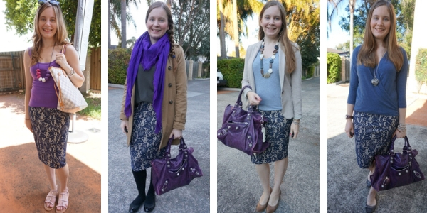 4 ways to wear purple with a lace pencil skirt | awayfromblue