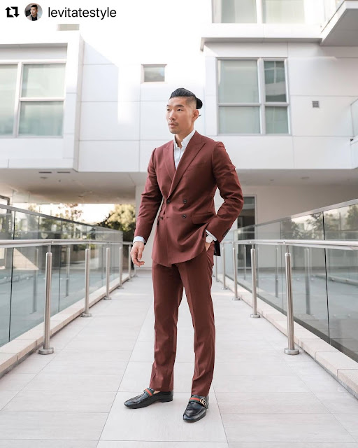 8 Valentine's Day Outfits for Men - Merlot Suit from Express
