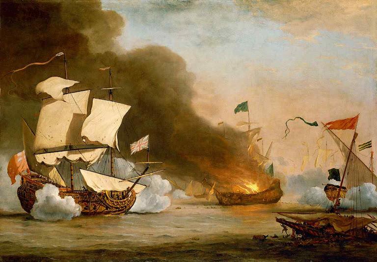 Nau inglesa em luta contra piratas da Barbária, no último quartel do século XVII