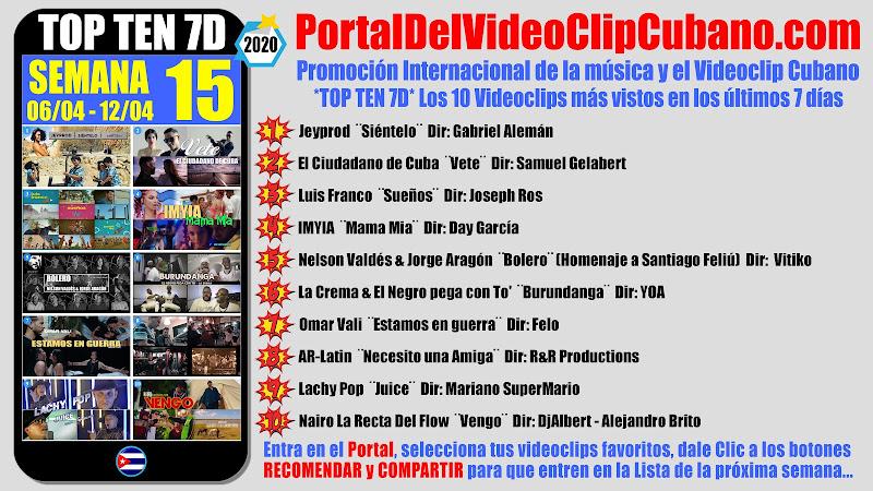 Artistas ganadores del * TOP TEN 7D * con los 10 Videoclips más vistos en la semana 15 (06/04 a 12/04 de 2020) en el Portal Del Vídeo Clip Cubano