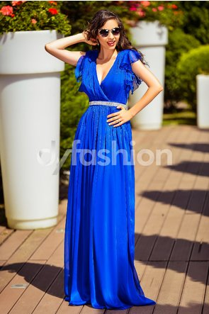 rochie lunga albastra de seara eleganta din tul cu spate gol