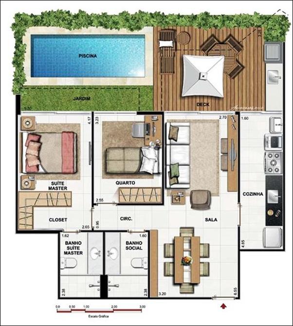 planta casa piscina