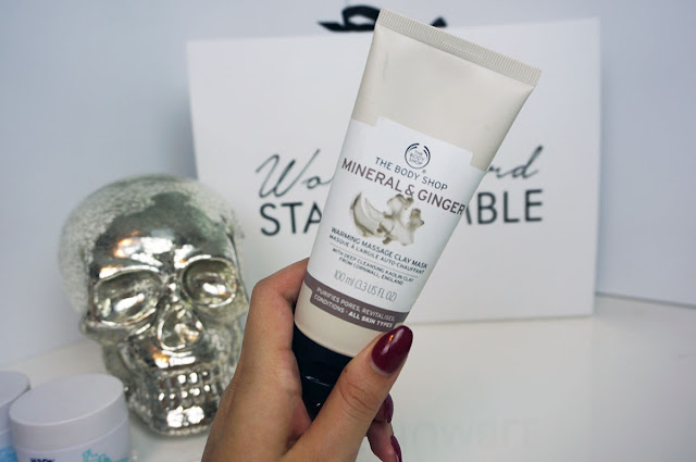 The Body Shop Mineral and Ginger warming massage clay mask packaging