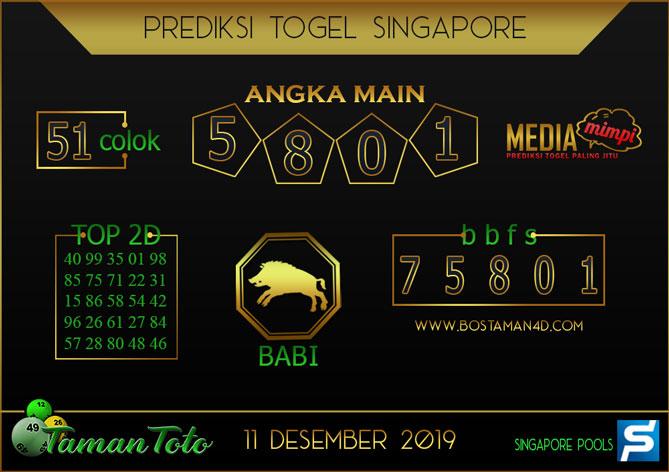 Prediksi Togel SINGAPORE TAMAN TOTO 11 DESEMBER 2019
