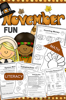 A great way to review important math and literacy skills in November with your students.