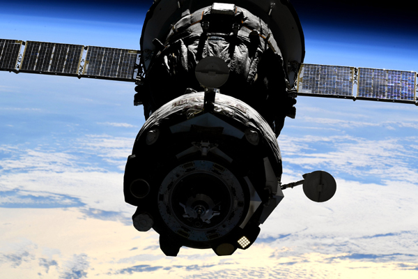 The Soyuz MS-18 vehicle in the process of relocating from the Rassvet module to the new Nauka science laboratory at the ISS...on September 28, 2021.