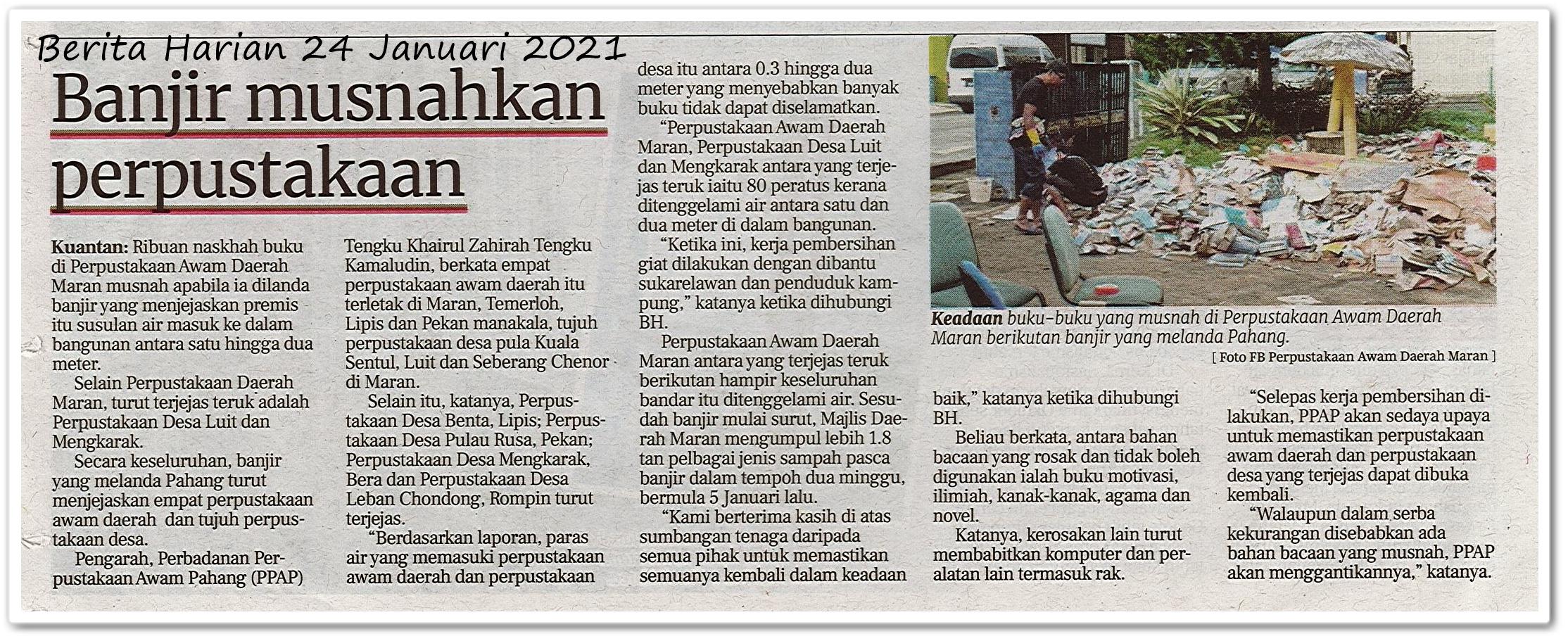 Banjir musnahkan perpustakaan - Keratan akhbar Berita Harian 24 Januari 2021
