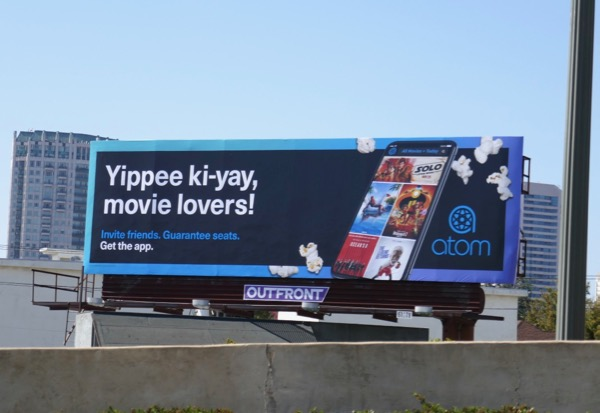 Yippee ki-yay movie lovers Atom app billboard