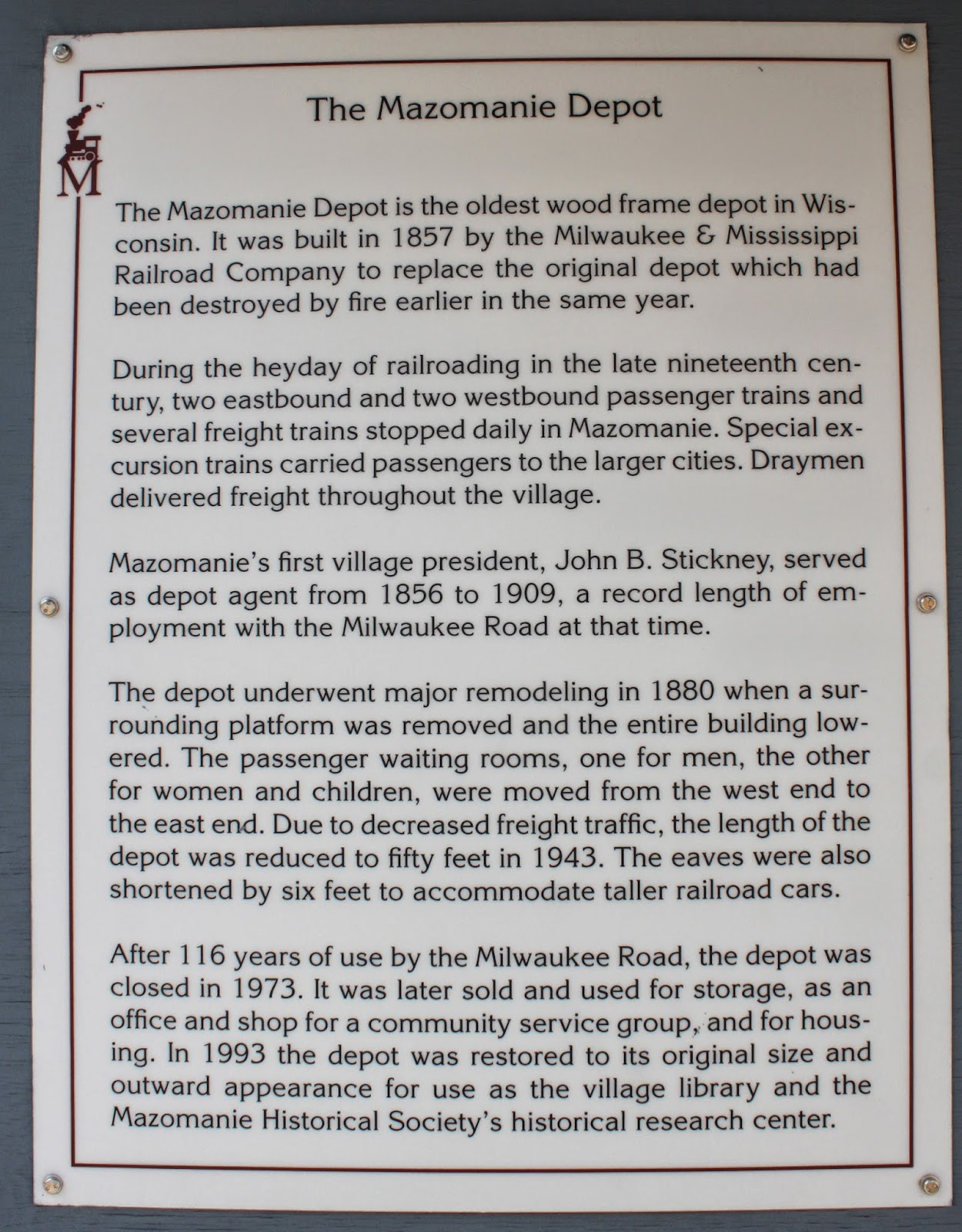 Wisconsin Historical Markers: The Mazomine Depot