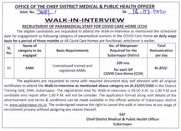 subarnapur covid health anm jobs odisha
