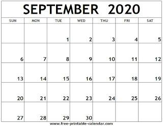 Free Printable Calendar September 2020